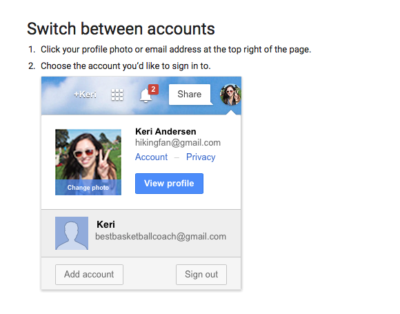 Google - switch between accounts