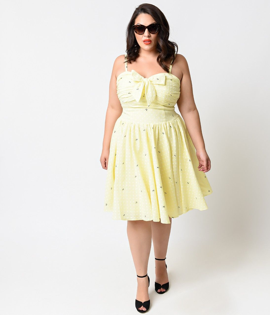 Iconic by UV Plus Size Yellow Dot Anchors Golightly Bow Swing Dress