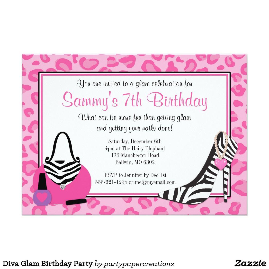 Diva Glam Birthday Party Invitation | { Happy Birthday - Invitations ...