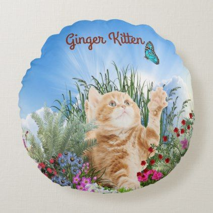 Ginger kitten playing with a butterfly round pillow | Zazzle.com #gingerkitten