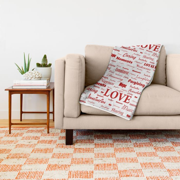 Photo of Love is White & Red Throw Blanket by georgebarak