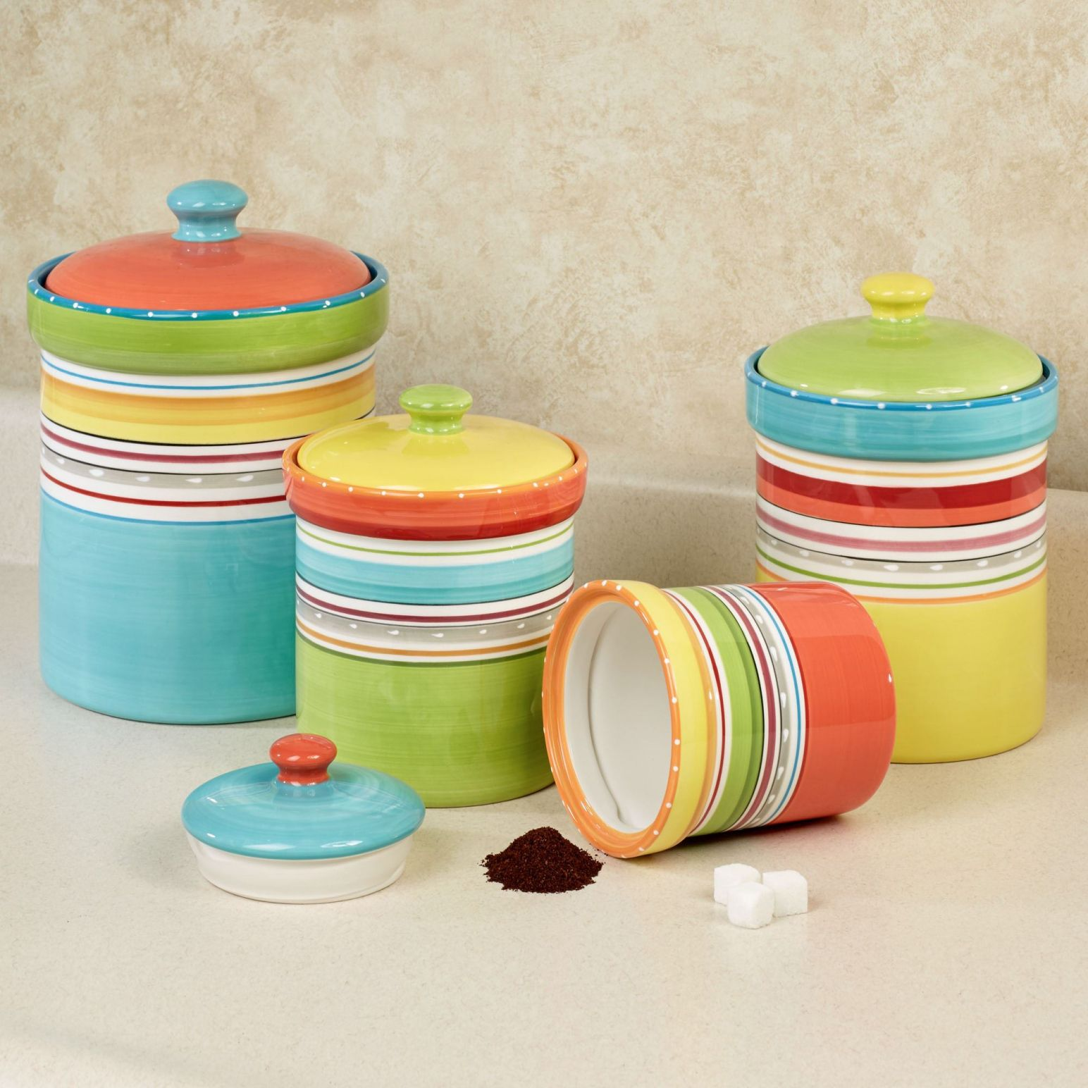 colorful kitchen canisters