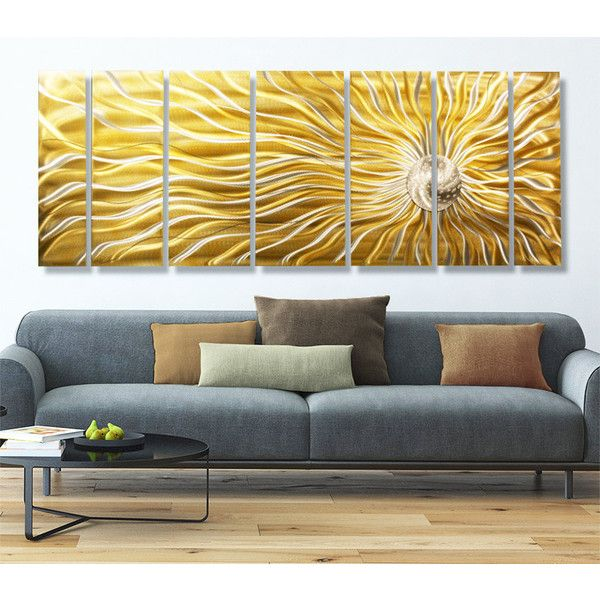 Huge Gold Multi Panel Metal Wall Art Contemporary Indoor Outdoor ...