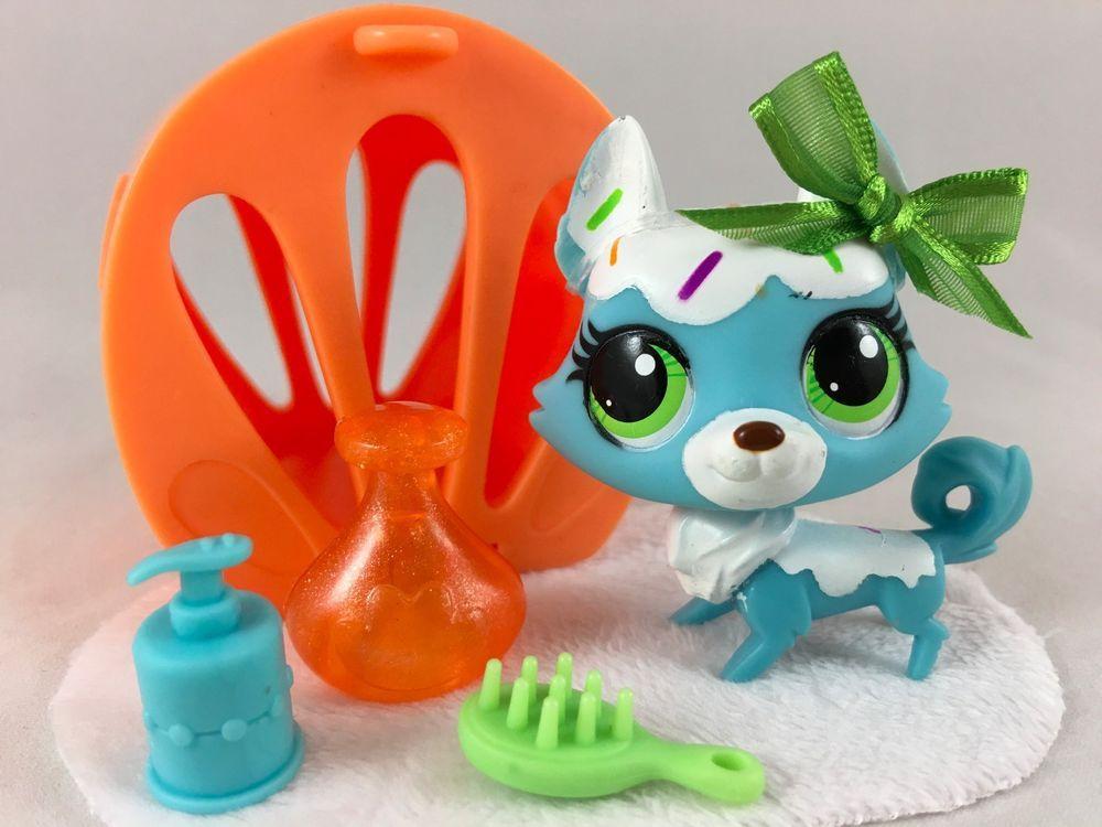 Littlest Pet Shop Cute Blue & White Confetti Husky Dog #3235 w/Accessories #Hasbro