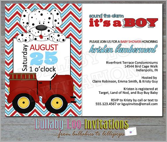 Fire Truck Baby Shower Invitations Product No 089 Fireman Baby