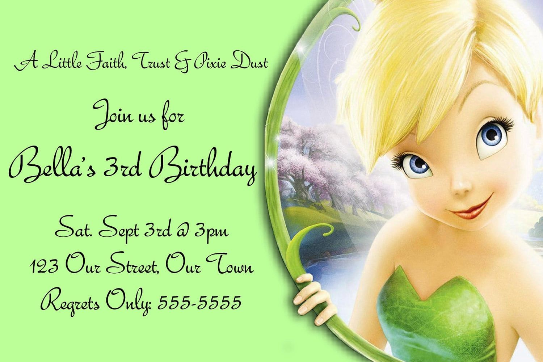 Tinkerbell Birthday Invitations Free  Tinkerbell invitations
