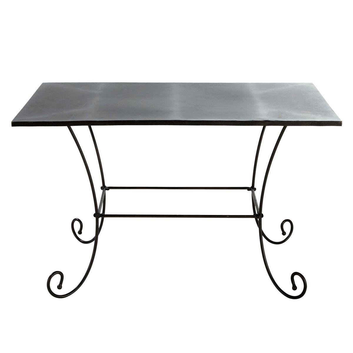 Mesa de jard n de hierro forjado negra l 125 cm hierro for Faroles en hierro forjado para jardin