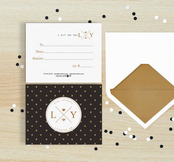 Glitter polka double sided gift certificate
