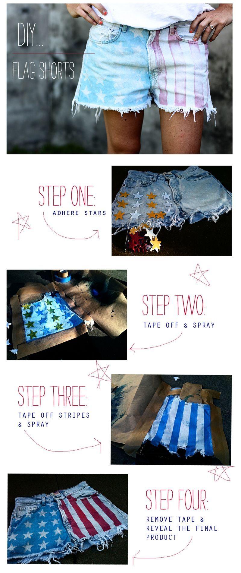 DIY Flag Shorts fashion usa creative diy diy ideas do it yourself crafty diy fashion diy pictures flag shorts