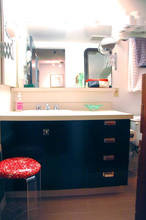 Bathroom Cabinets Black Gloss paint ugly laminate cabinets with rustoleum enamel in gloss black