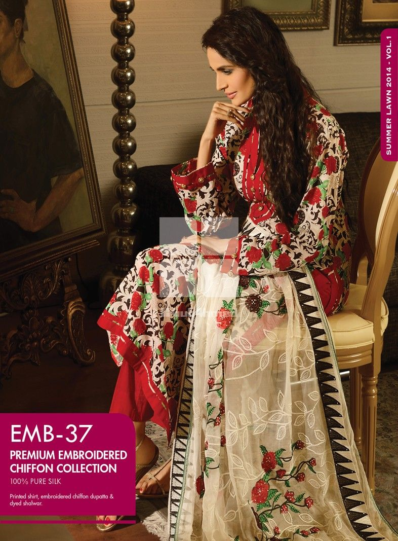 EMB-37! Printed shirt, embroidered chiffon dupatta & dyed ...