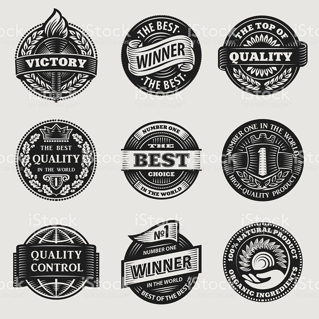 Vintage Signs Ribbons Stickers Vector Set Vintage Signs Sticker Sign Sign Writing