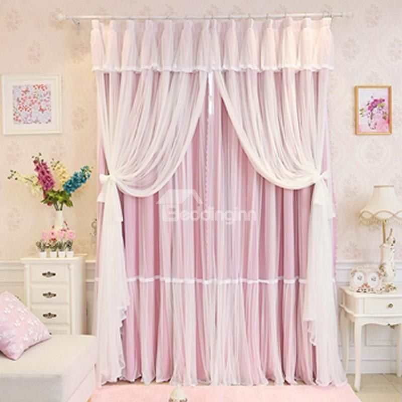 Princess Style Pink Sheer And Cloth Sewing Together Blackout Custom Curtain Girls Bedroom Curtains Window Curtains Living Room Princess Curtains #pink #living #room #curtains