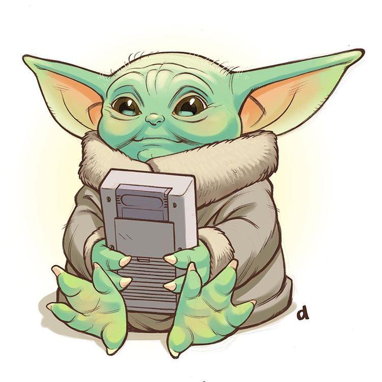 Darren M A Calvert En Instagram Baby Yoda Playing Game Boy On A Long Space Trip Drawn And Coloured In Procreate Star Wars Art Star Wars Fan Art Yoda Art