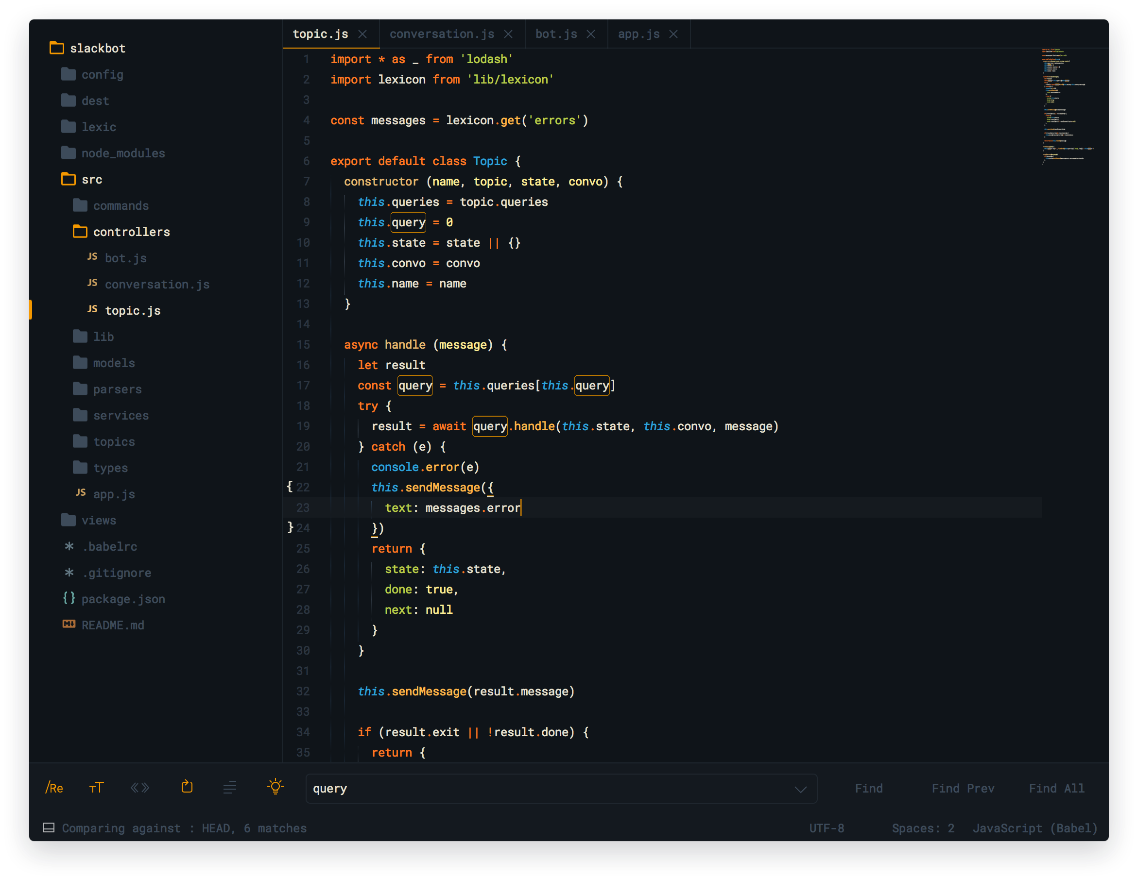 Ayu dark theme para sublime text 3 y 2