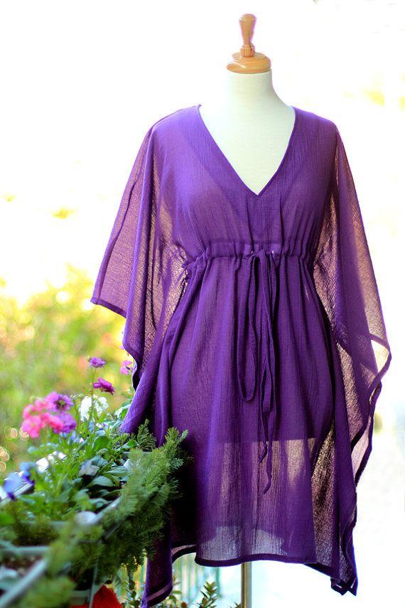 Mini Caftan Dress Short Kaftan Beach Cover Up Purple