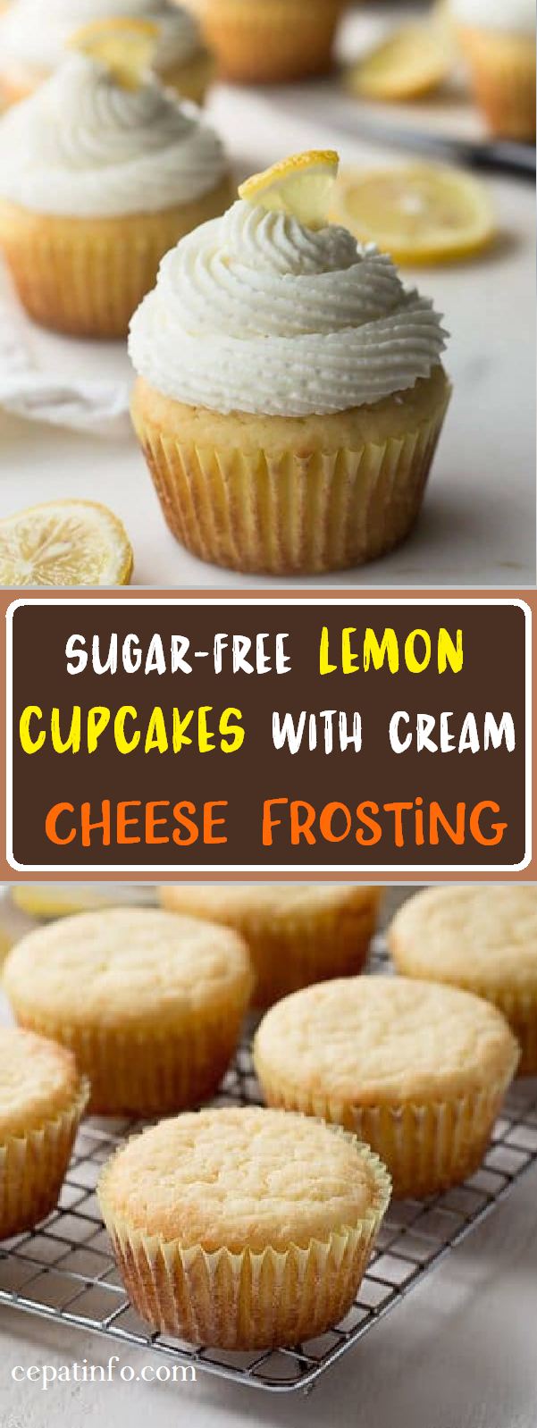 SUGAR-FREE LEMON CUPCAKES WITH CREAM CHEESE FROSTING