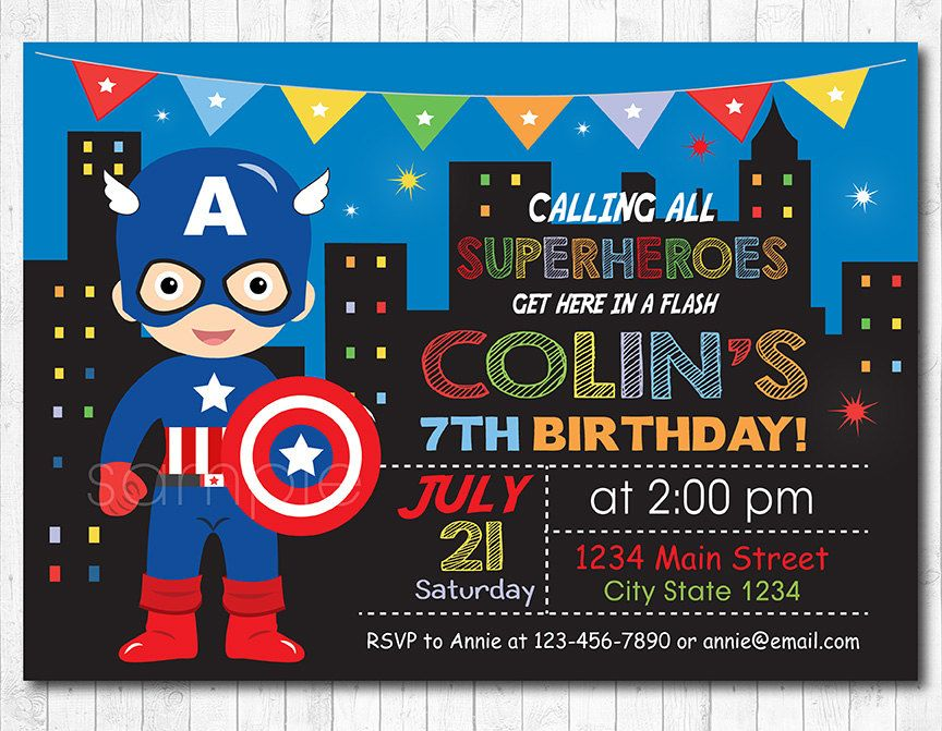 captain america invitation superhero invitation by funkymushrooms