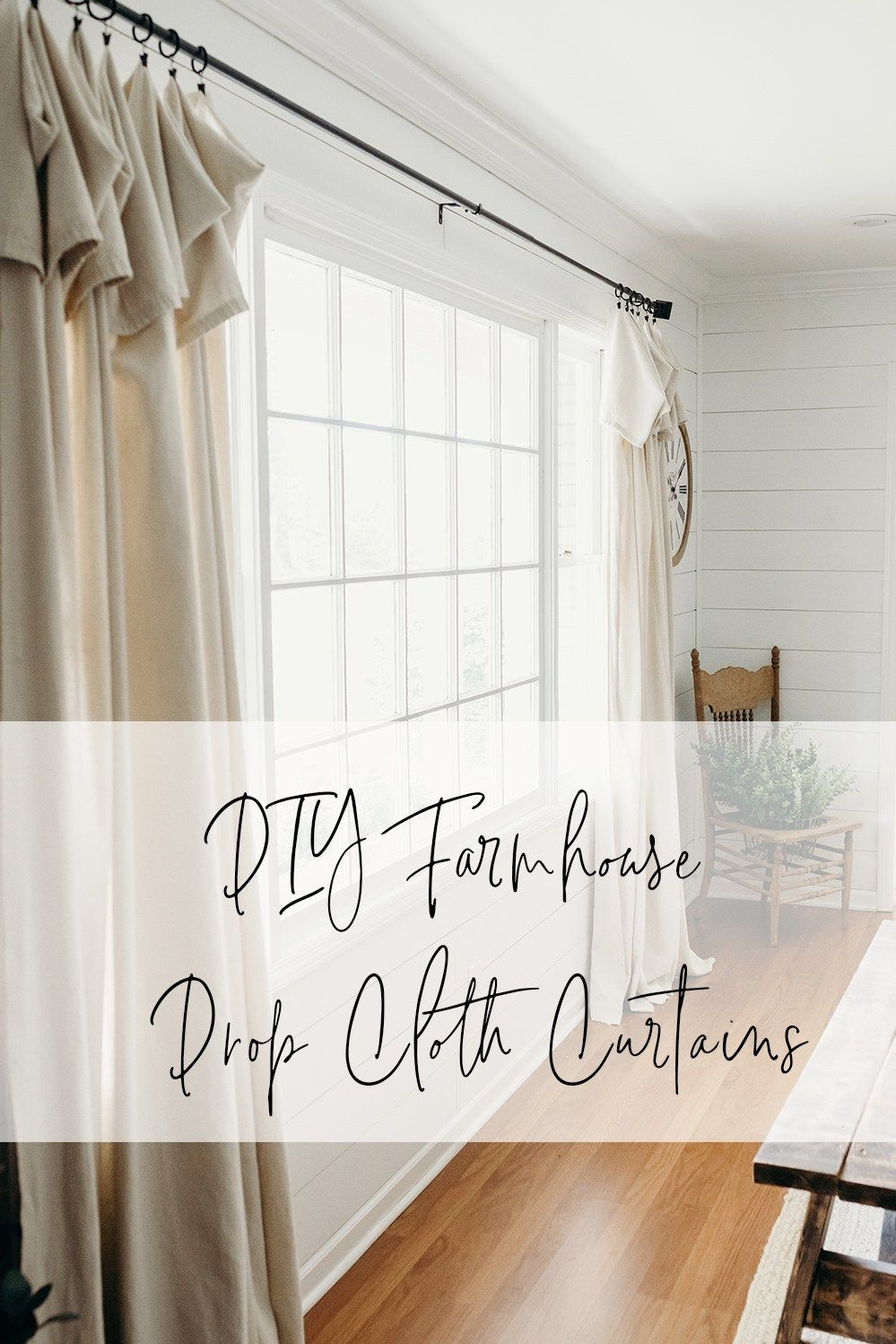 DIY Farmhouse Drop Cloth Curtains Curtains living room