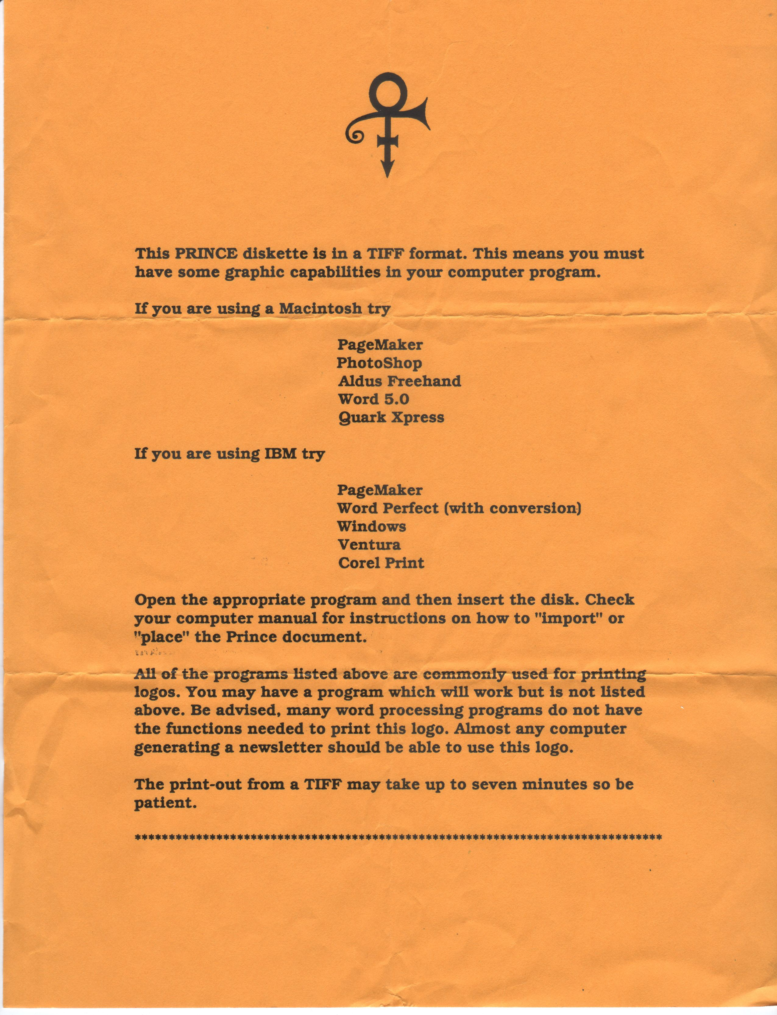 Prince Gold Experience Media Font Floppy Prince Symbol Kit Page