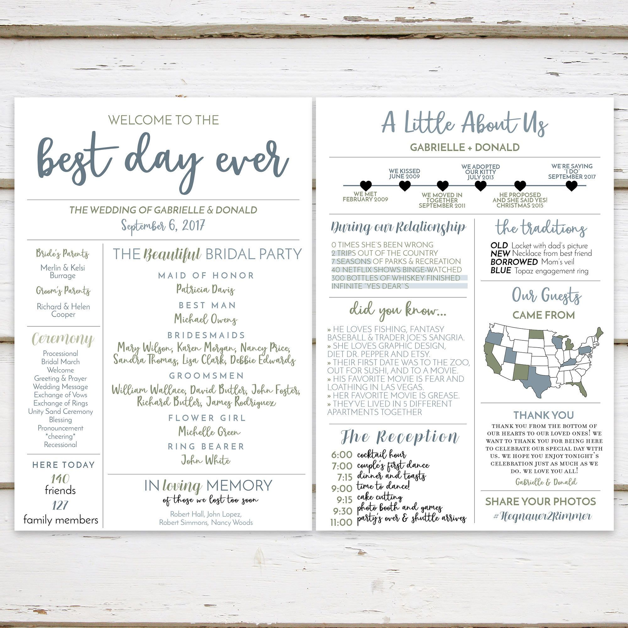 about this item printable fun infographic wedding program the