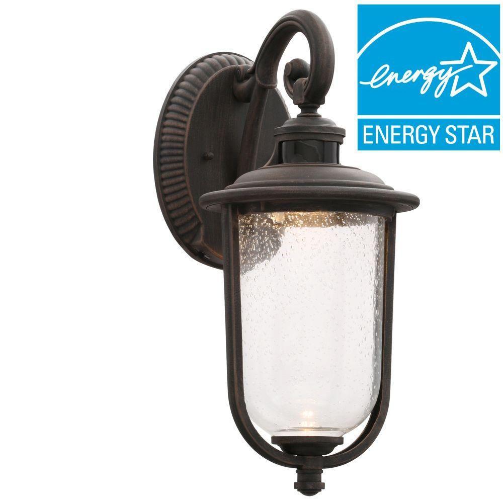 Perdido Rust Outdoor LED Motion Sensor Wall Mount Lantern | Wall ...