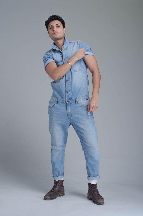 0429e2d5d920 Mens Denim Jumpsuit Denim Overalls 70s Vintage Style