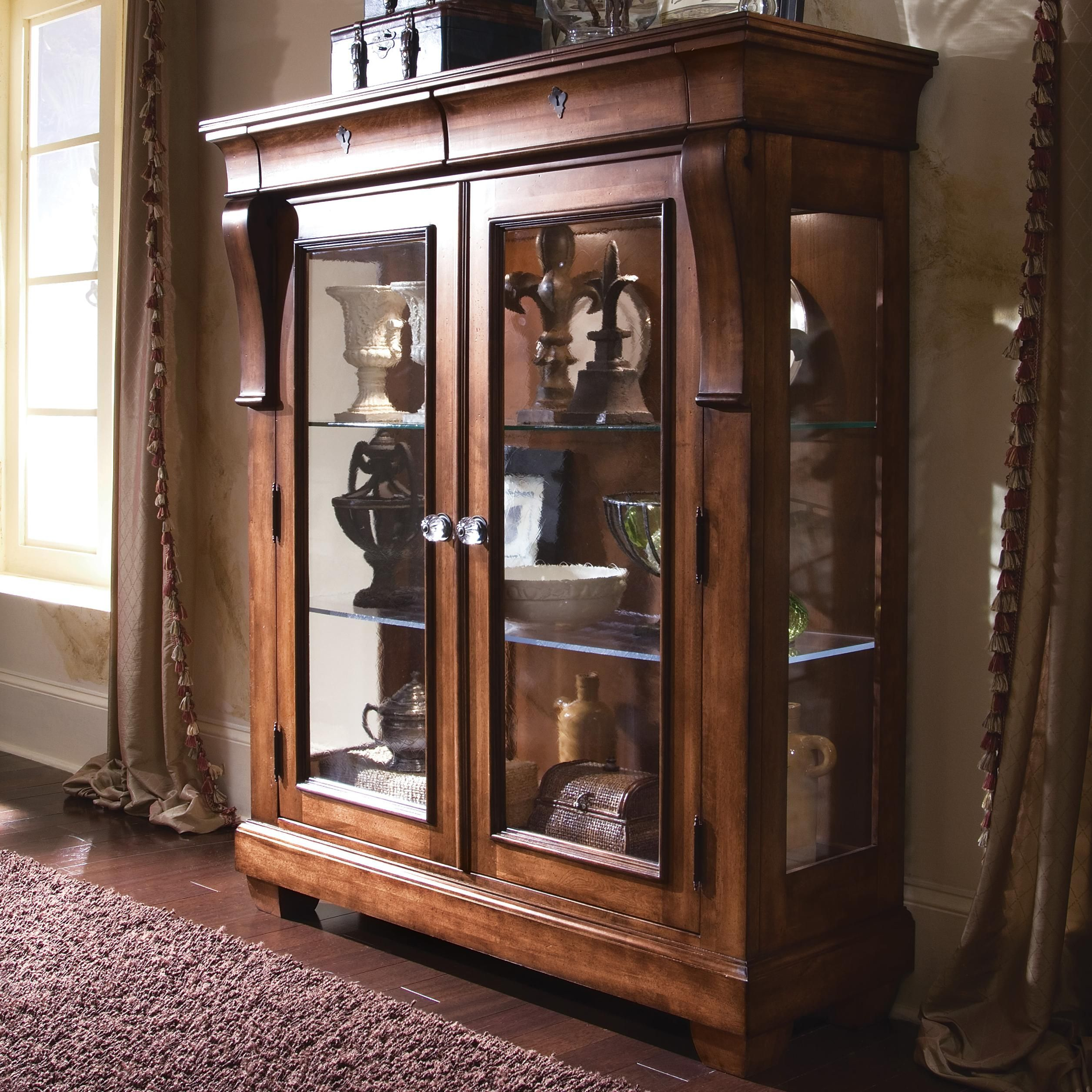 stunning wood curio cabinet with glass doors 7