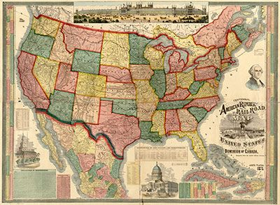 Historic Map of the United States 1875 Wall Mural - Peel and Stick