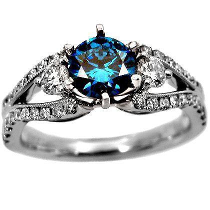 17ct round fancy blue diamond ring 18k gold - Blue Diamond Wedding Rings
