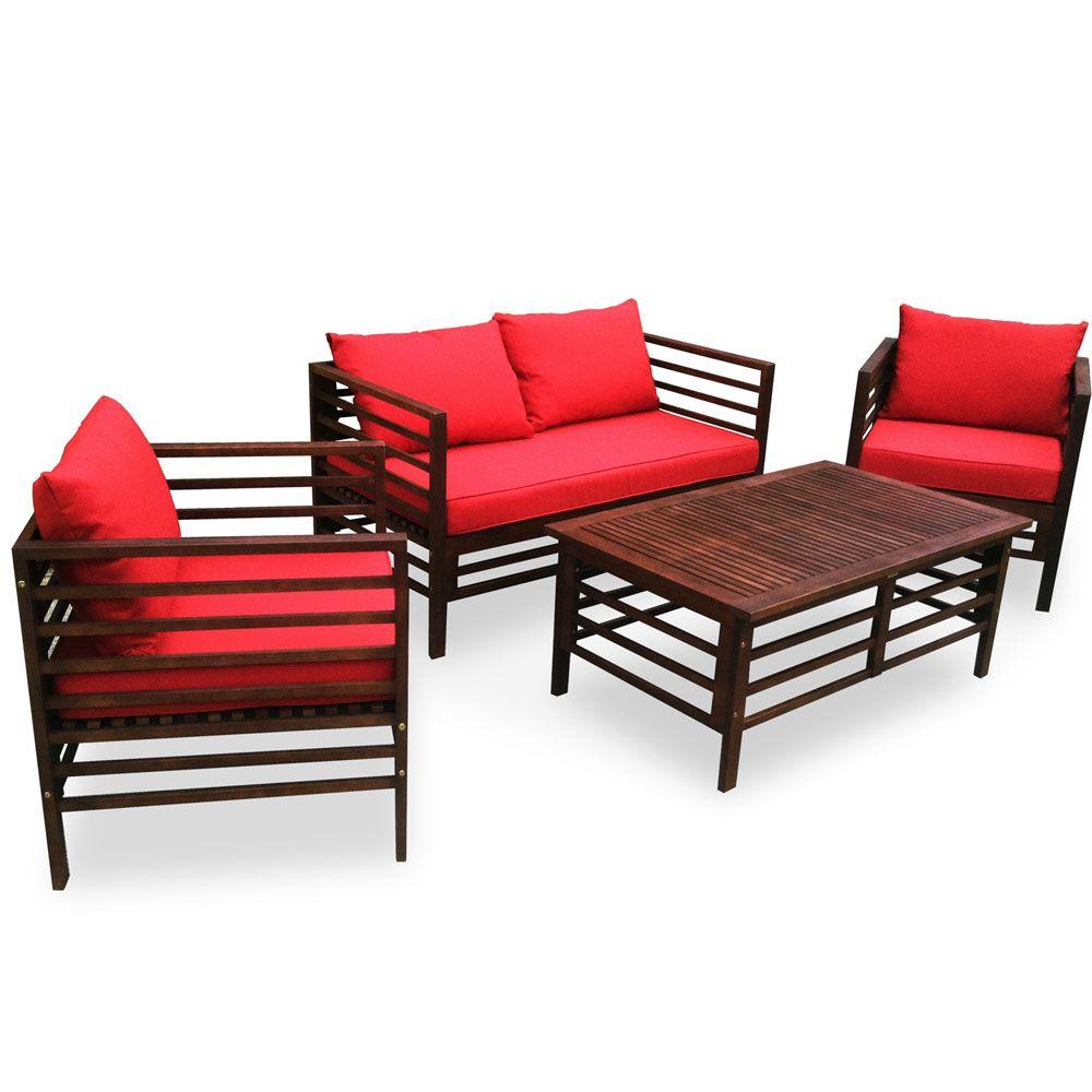 Buy Luxo Stradbroke Eucalyptus Timber Outdoor Sofa Set - Red Online  Australia - Luxo Stradbroke Eucalyptus Timber Outdoor Sofa Set - Red Outdoor