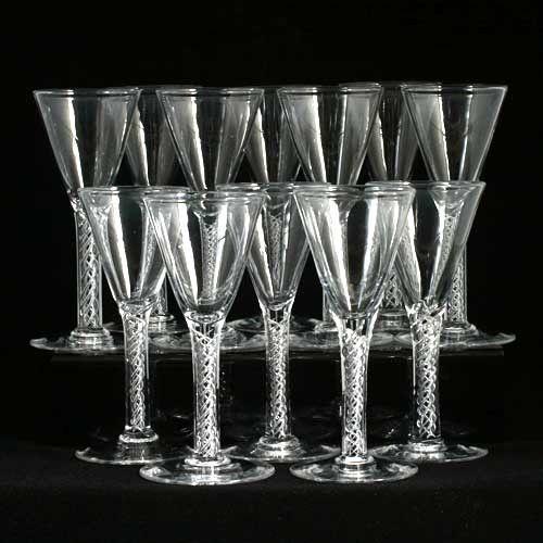 45d84b964c6 12 Hand Blown Crystal Wine Glasses Airtwist Stems Air Twist Art Glass