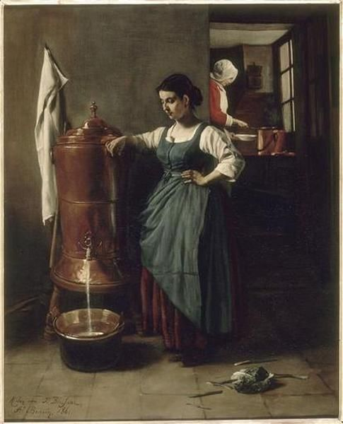 franois bonvin la fontaine en cuivre interieur de cuisine dit servante tirant de leau 1861 oil on canvas dimensions h 74l