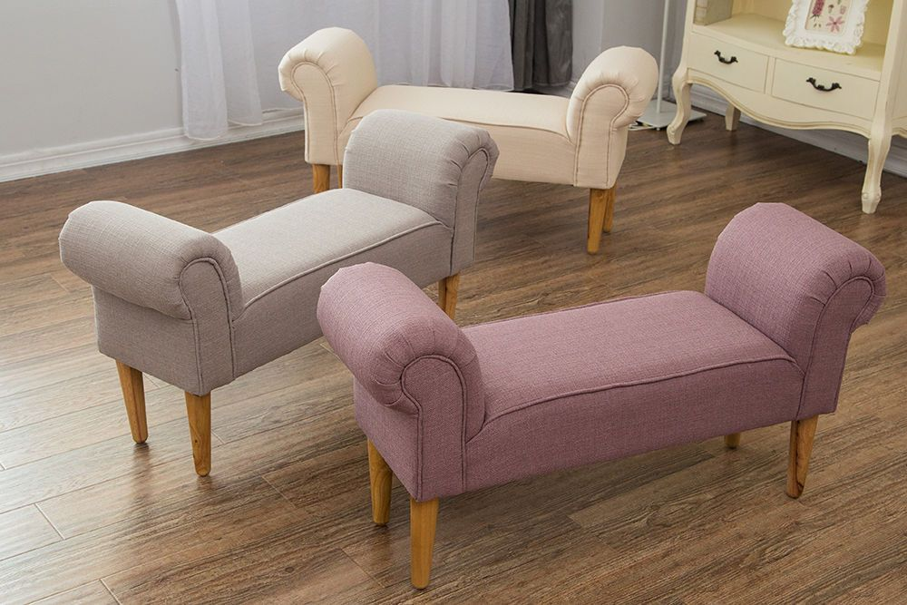 Fabric Bench Chaise Lounge Settle Footstool Seat Chair Plain Grey Pink Natural