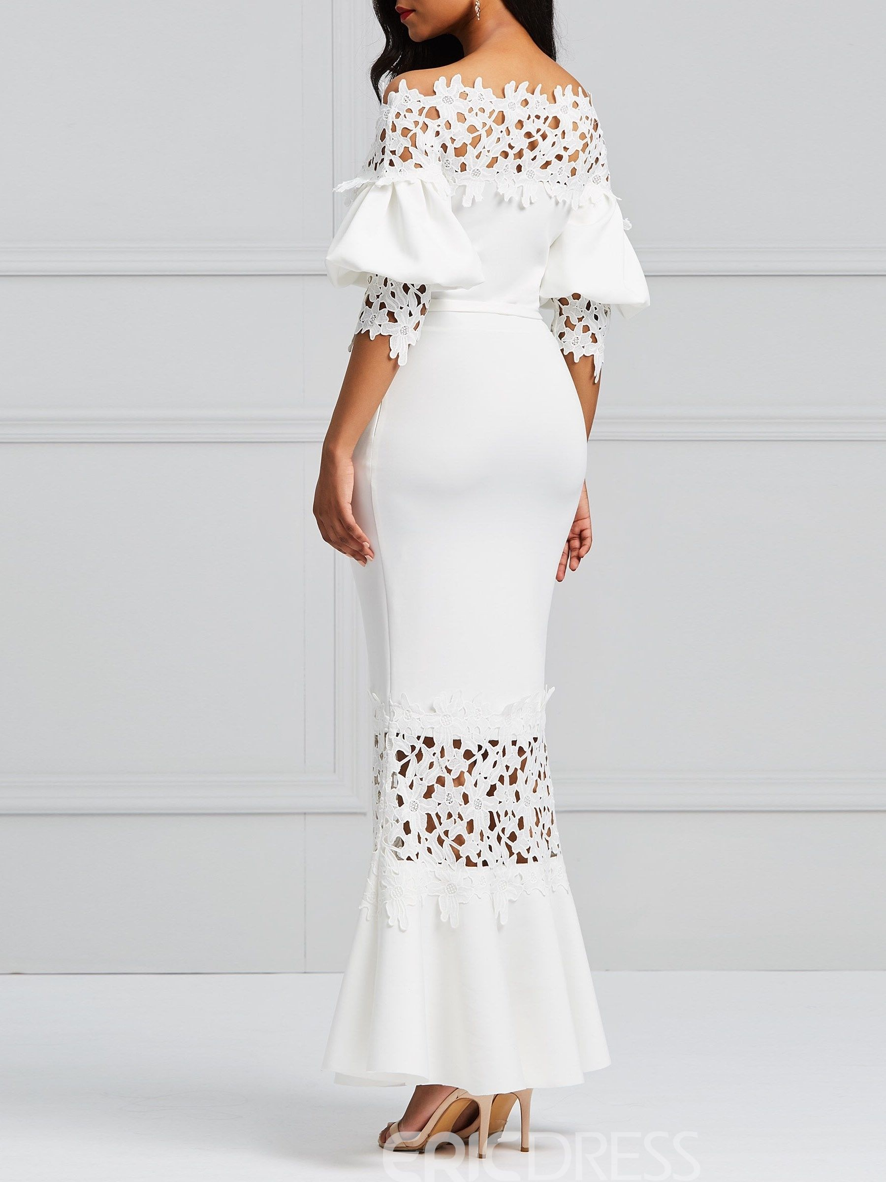 4d4a701a93e43 Ericdress White Slash Lantern Sleeve Neck Lace Maxi Dress | جديد in ...
