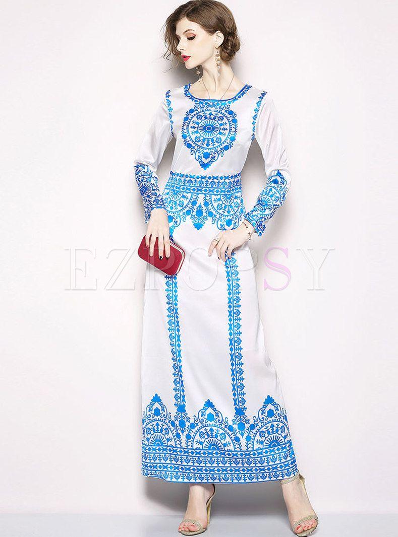 Ethnic printed long sleeve prom dress buy pinterest ethnic