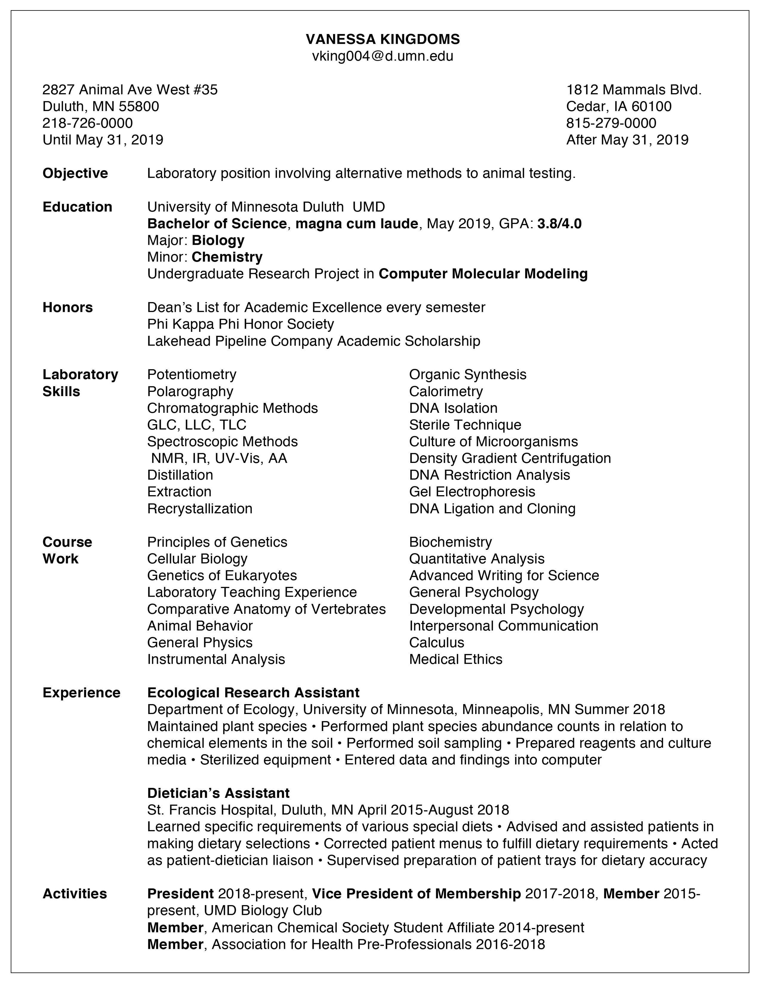 Resume Examples / Career & Internship Services / UMN