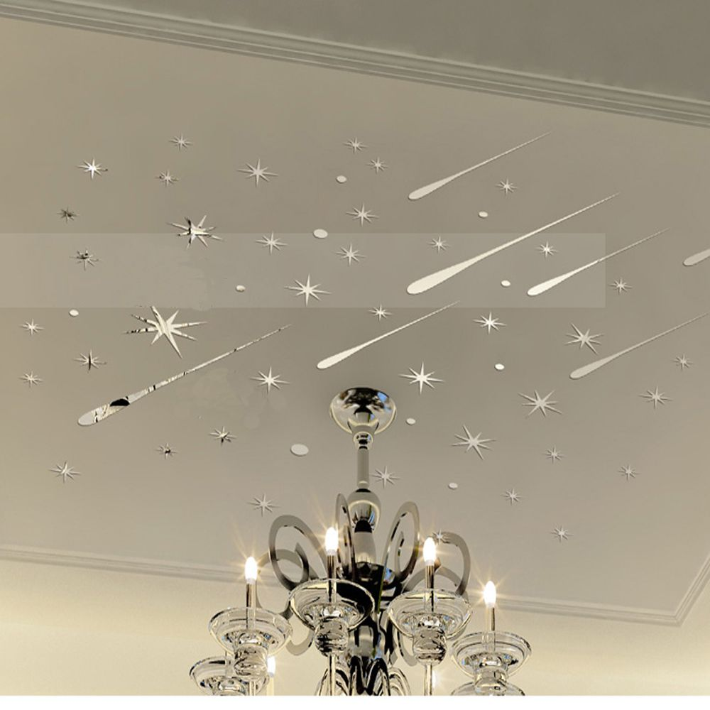 Funlife 3D Meteor Stars Universe Shooting Shiny Mirror Wall Sticker  Reflective Wall Decals For Home Decoration Part 57