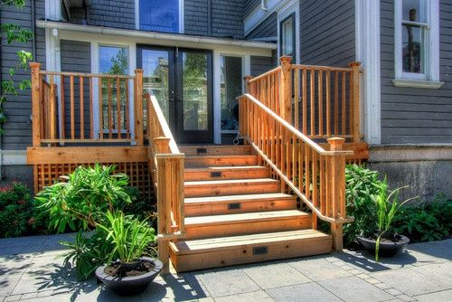 wide steps to patio | Front Deck Ideas