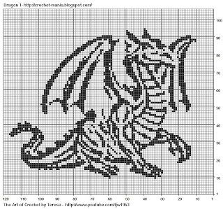 Free Filet Crochet Charts and Patterns: Filet Crochet Dragon 1