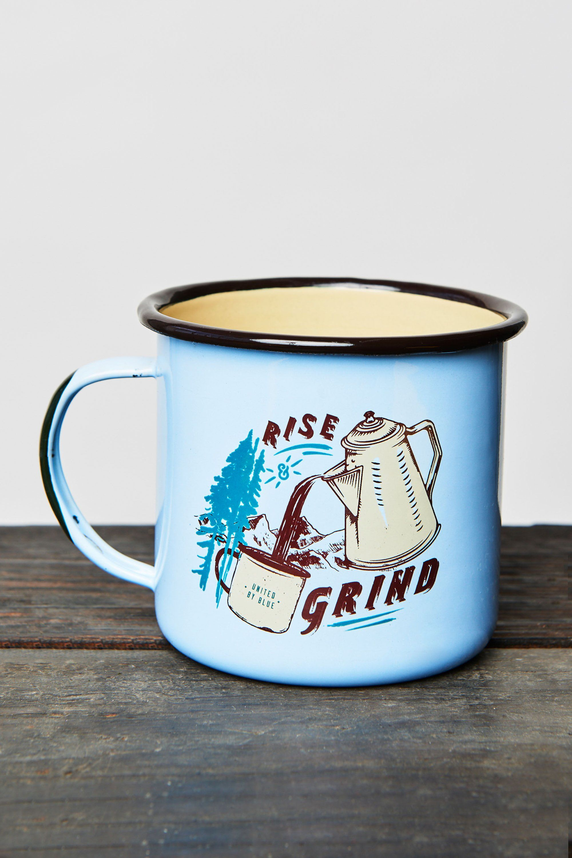 22 Oz Rise Grind Enamel Steel Mug United By Blue