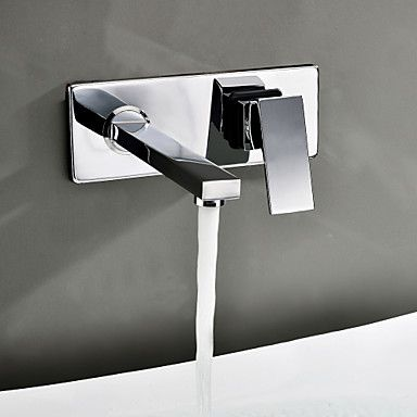 Contemporary Wall Mount Bathroom Sink Faucet Chrome Finish Usd