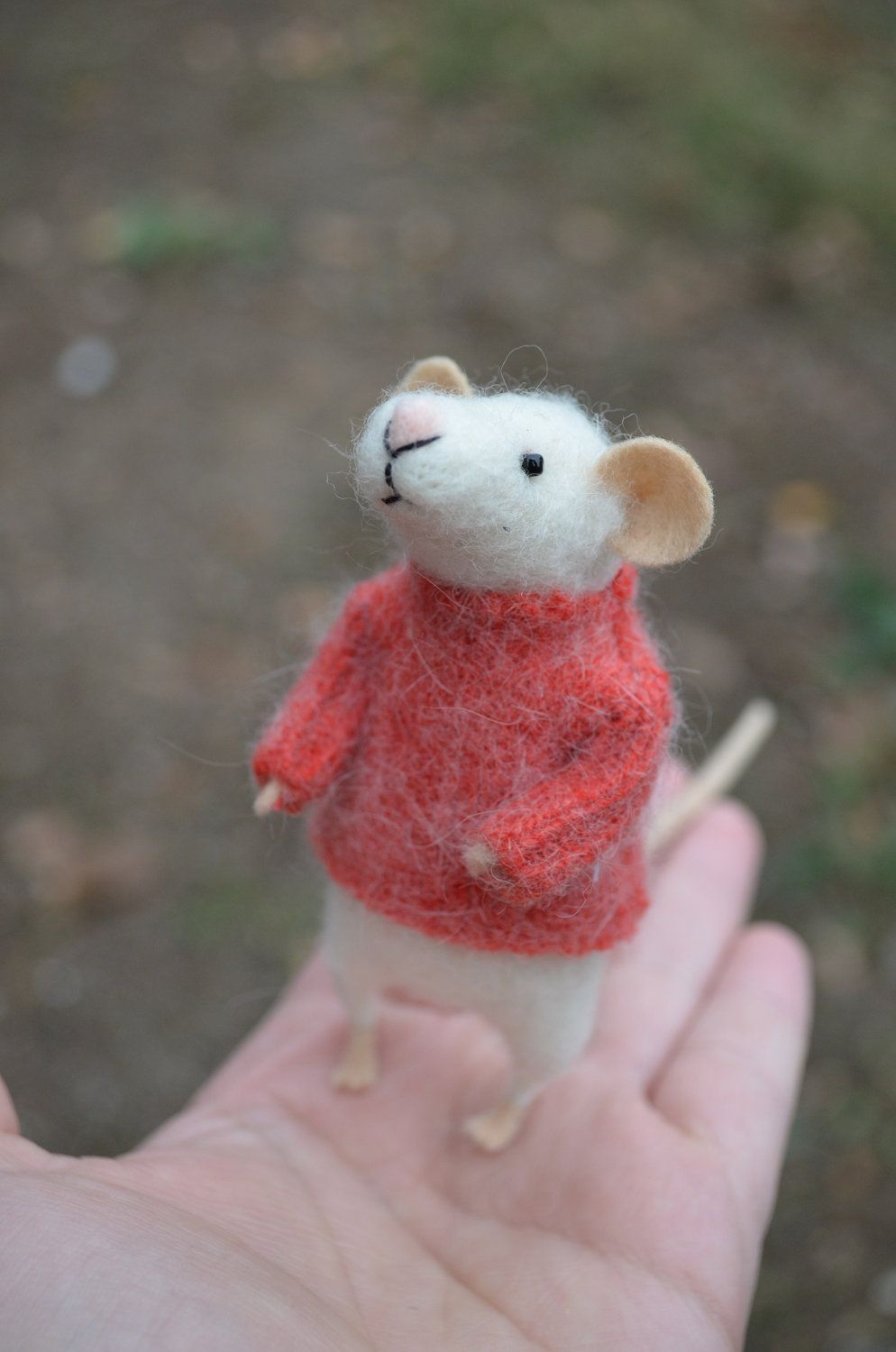 The Little Mouse With Recycled Swaeter Unique Needle Felted Ornament Animal Felting Dreams Made To Order Felt Crafts Mouse Crafts Needle Felted Ornaments