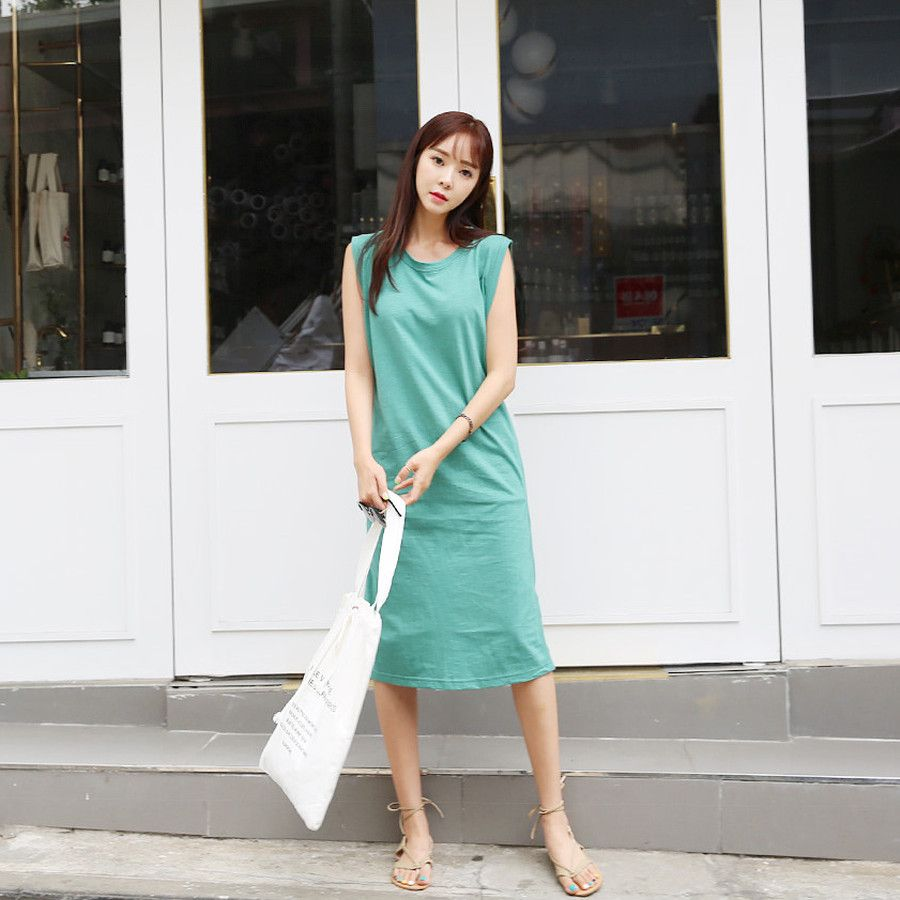 envylook Round Neck Sleeveless Long Dress koreanfashion