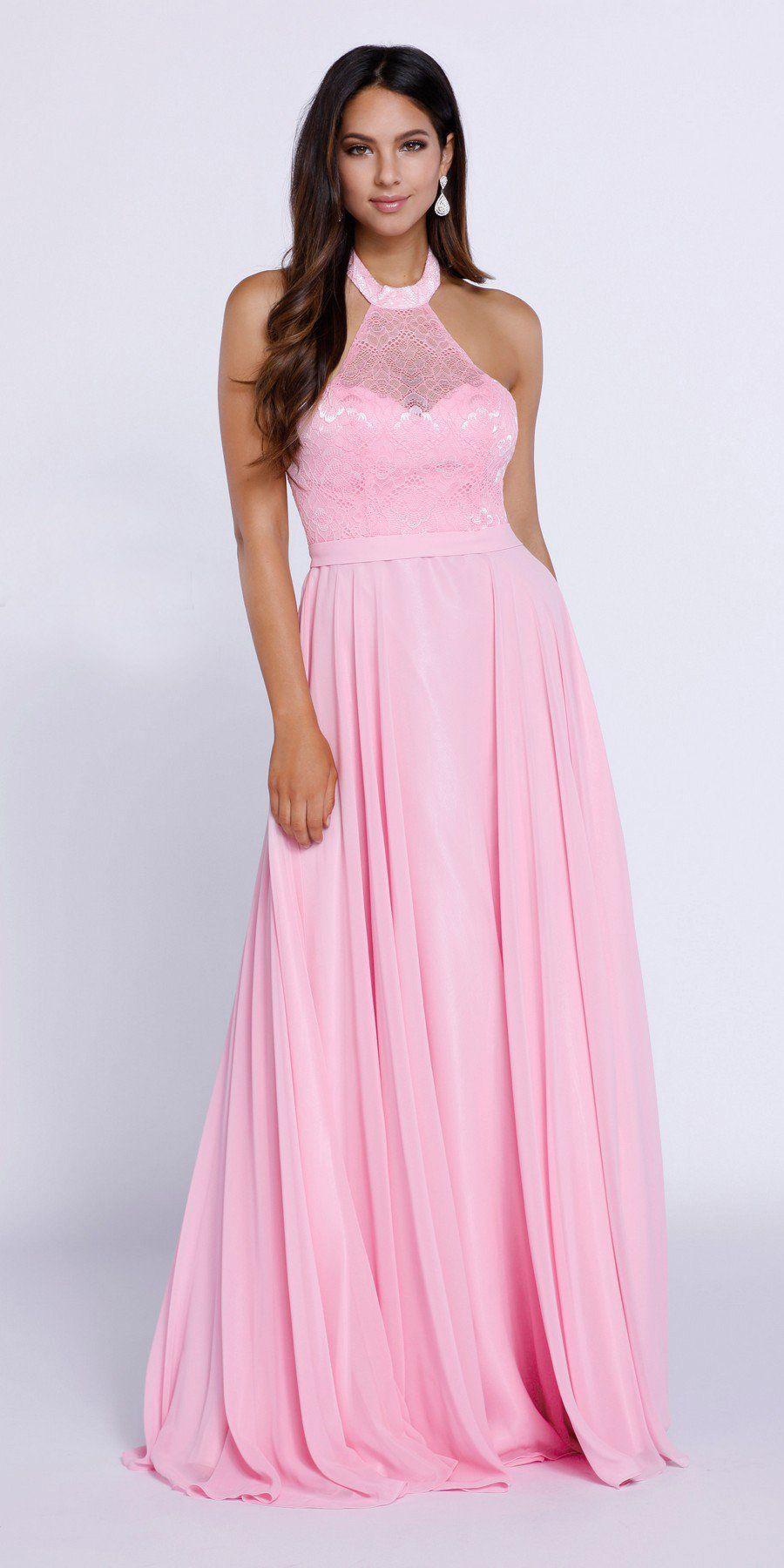 Baby pink high neck halter top prom dress chiffon illusion neck