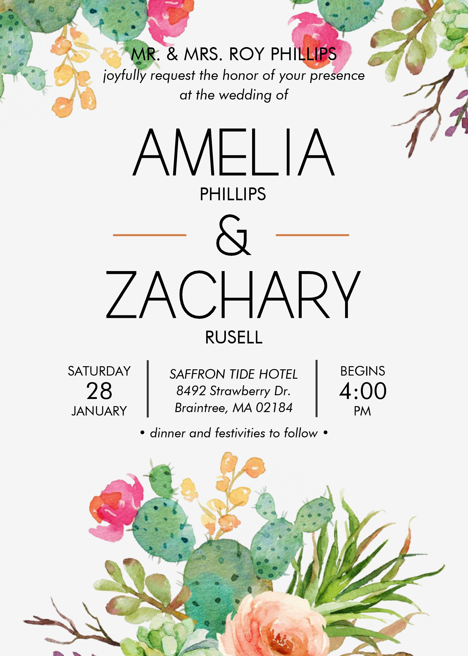 Watercolor Cactus Invitation Templates - Editable With MS ...