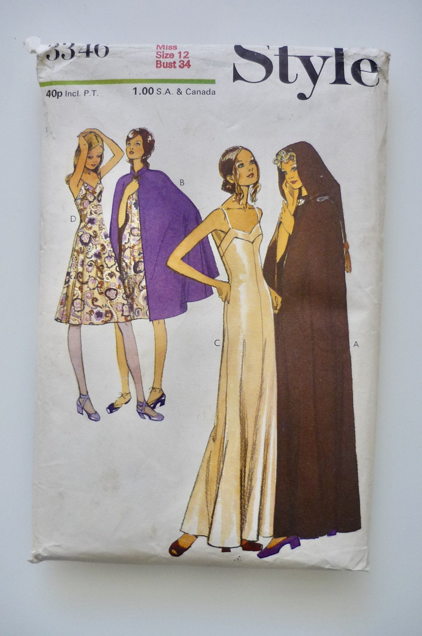 Vintage sewing Patterns: Style 3346. 1970s Dress and Cape pattern. FF, unused