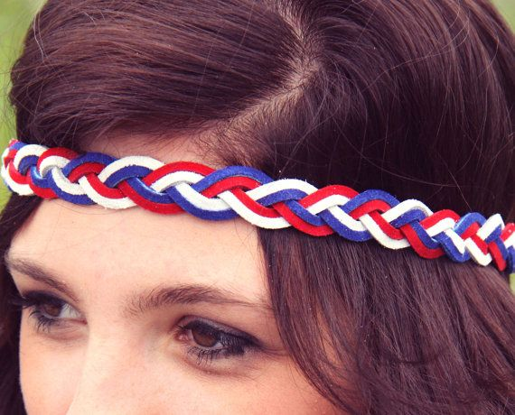 America the Beautiful Bohemian Braid Headband, Fourth of July Braided Headband, Holiday, Summer Style. $15.00, via Etsy.
