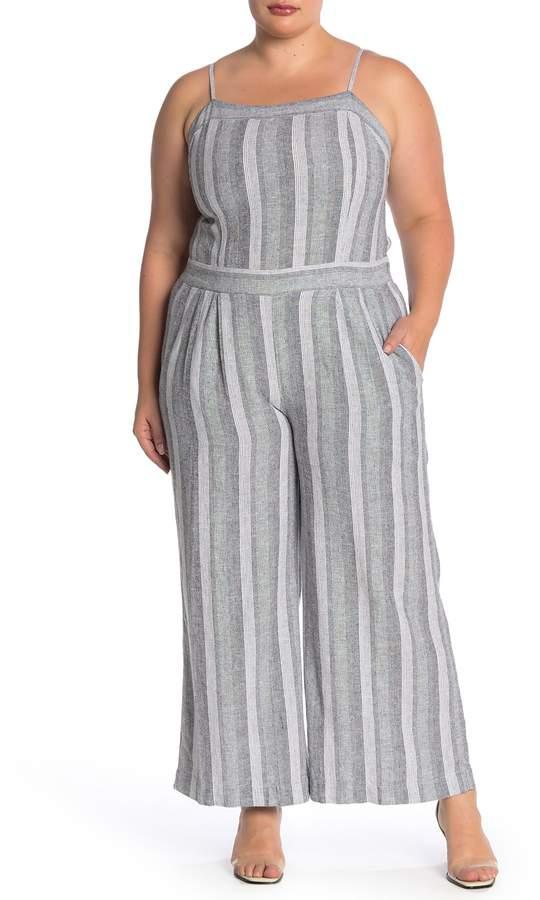 48960454aa007 Susina Stripe Linen Blend Jumpsuit (Plus Size)