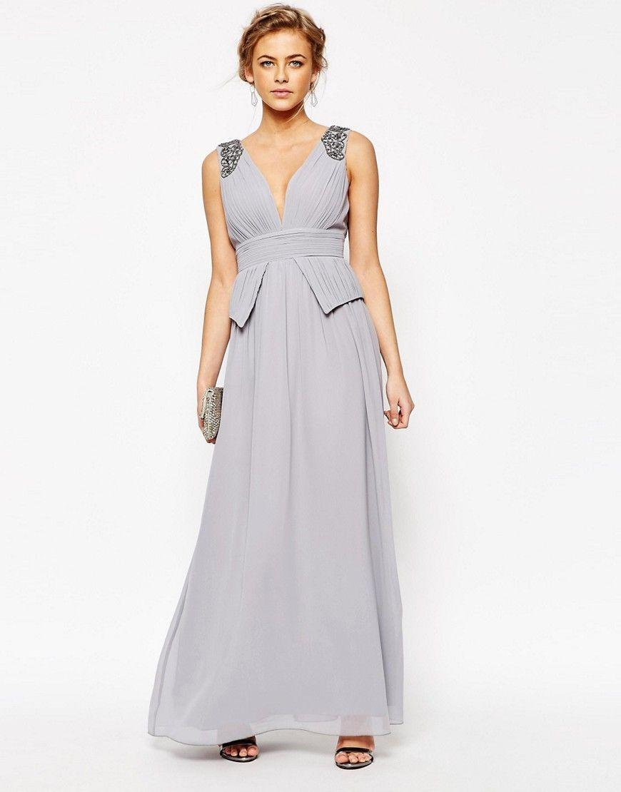 Little Mistress Chiffon Maxi Dress with Pleats and Embellished ...
